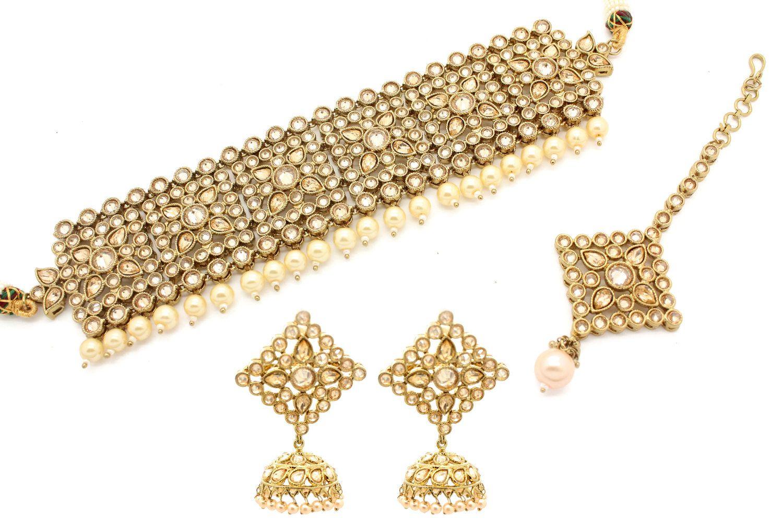 2f66ed0f1 Antique Gold Kundan Stone Indian Asian Choker Necklace Indian Jewellery  Jewelry Set