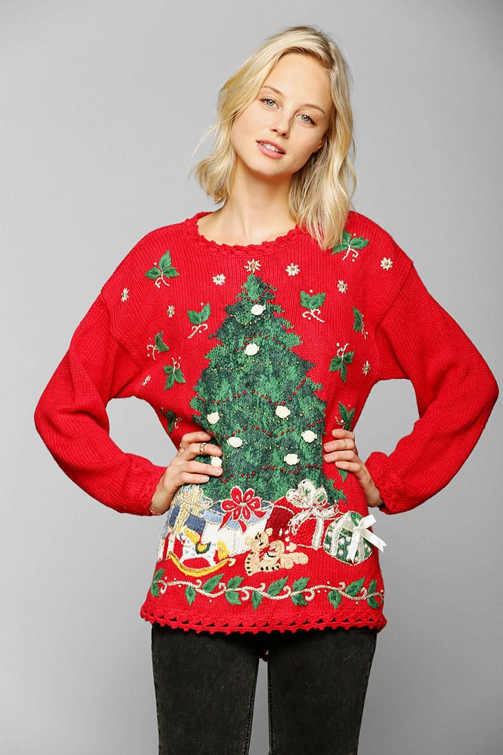 Urban Outfitters Ugly Christmas Sweater.Women S Red Christmas Sweater Clothing Waist Up