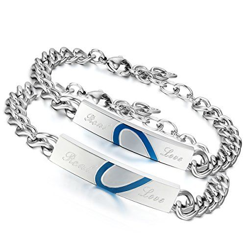 Flongo 2 Pcs Real Love Herz Edelstahl Armband Link Handge Https Www Amazon De Dp B017b4qxui Ref Cm Sw R Pi Dp X L7nky With Images Bracelets Blue Heart Silver Bracelet