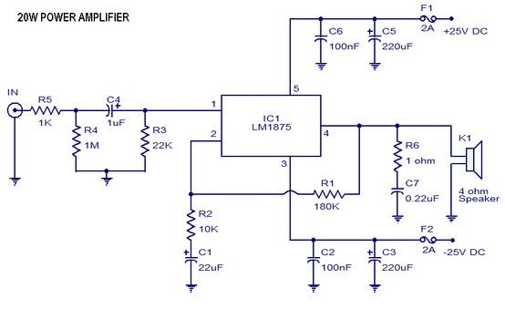 Easy Power Lifier Circuit with LM Free Electronic Schematic ...