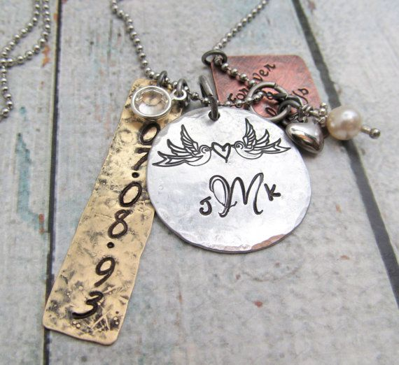 Hand Stamped Jewelry  Personalized Couple's by FiredUpLadiesHammer