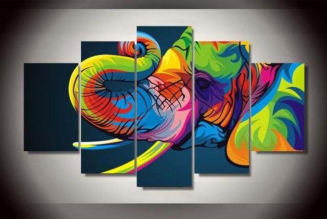 5 Pcs sem moldura impresso colorido elefante pintura de decoração de impressão de cartaz da arte da lona africano