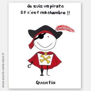 Plaque de porte Pirate avec prénom, décoration chambre enfant | Kids ...