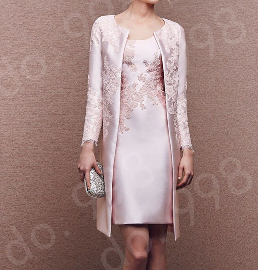 The Mother of Bride Dresses with Pink Jacket