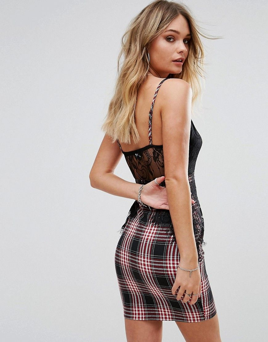 Lace and Check Strappy Dress - Navy Prettylittlething Cheap Classic For Nice Sale Online The Cheapest Cheap Price Amazing Price Cheap Online cRmVSPG