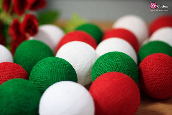 3 tones :20 mixed Red Green White Cotton Ball String Lights Fairy lights Party Decor Wedding Garden Spa and Holiday Lighting