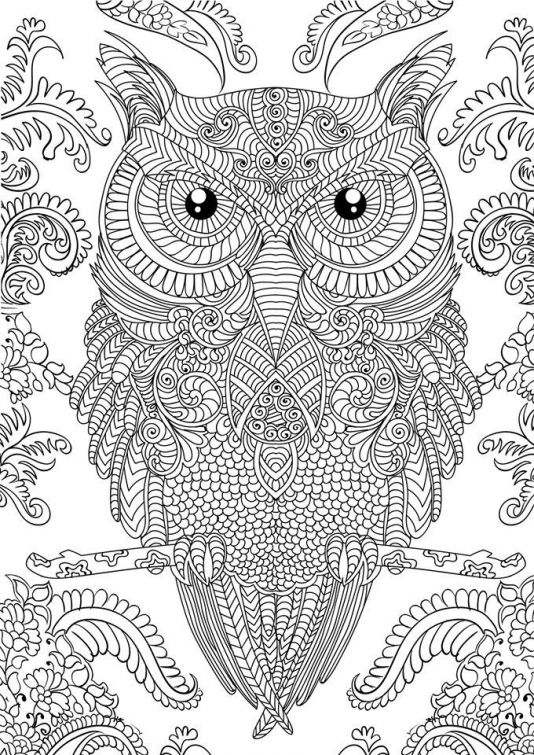 owl doodle art hard coloring page free to print for grown ups - Hard Coloring Pages