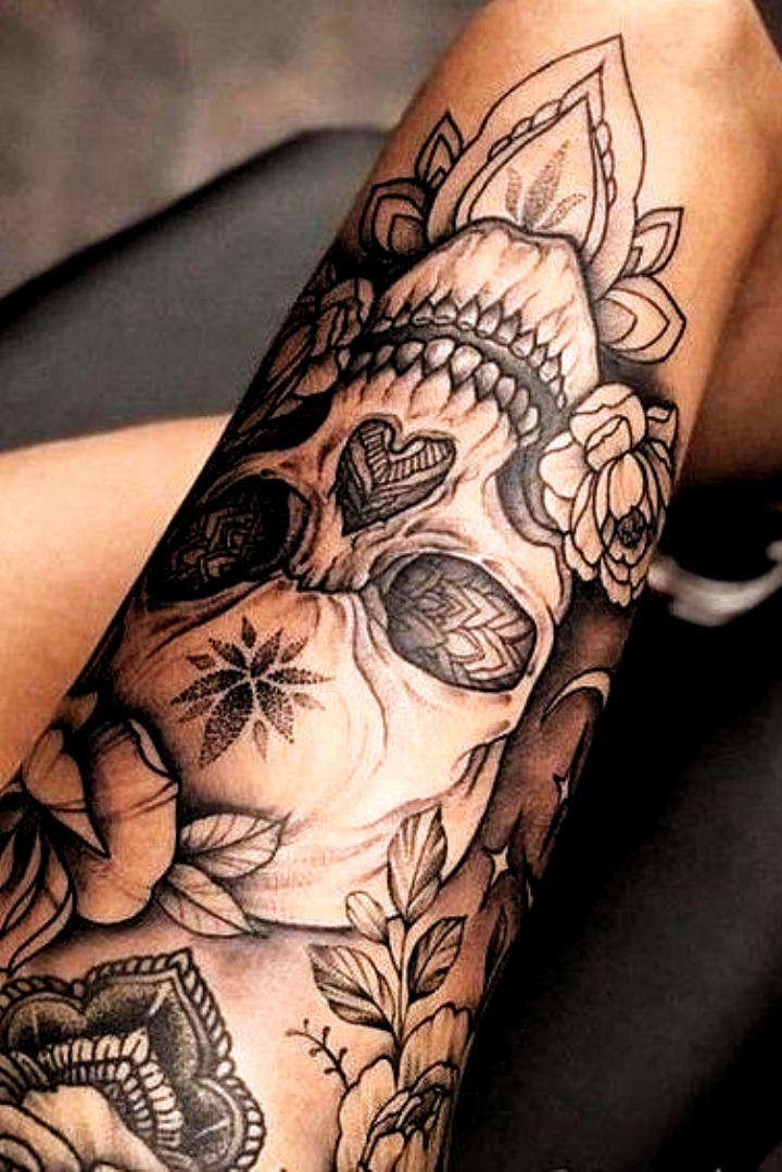 Tattoo Ideas Female Meaningful Tattoo Ideas Female Meaningful In 2020 Skull Thigh Tattoos Skull Tattoo Flowers Tattoos For Women