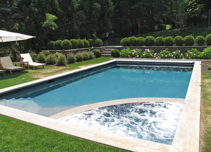 Classic Rectangular Pool With A Corner Hot Tub Addition Built By Aqua Doctor Rectangular Pool Corner Hot Tubs Pool