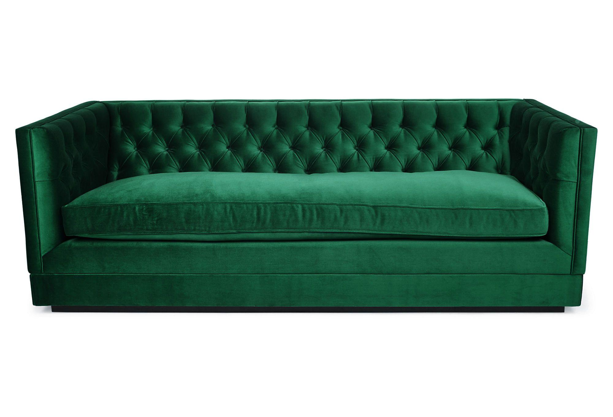 Draper 88 Tufted Velvet Sofa Emerald