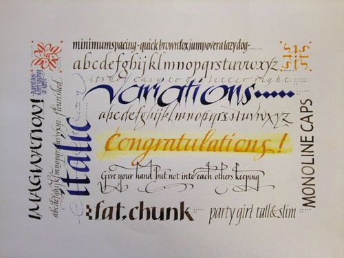 Italic variations calligraphy letters calligraphy