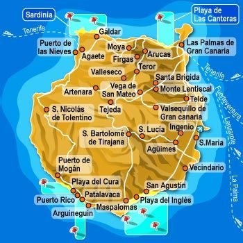 Gran Canaria Map Gran Canaria Canary Islands Spain Canary Islands