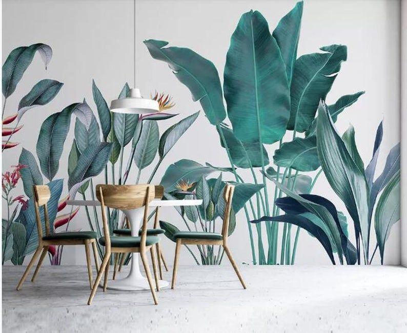 Simple Modern Tropical Plants Wallpaper Wall Mural Several Etsy Plant Wallpaper Tropical Wallpaper Wall Wallpaper
