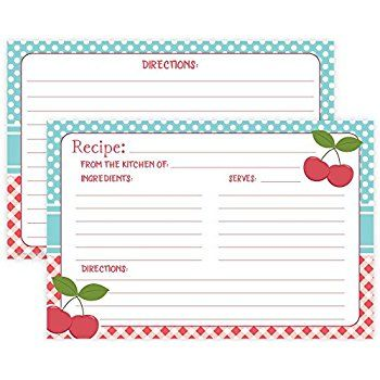 Vintage Cherry Recipe Cards (Set of 50) Double Sided - 4 - recipe card