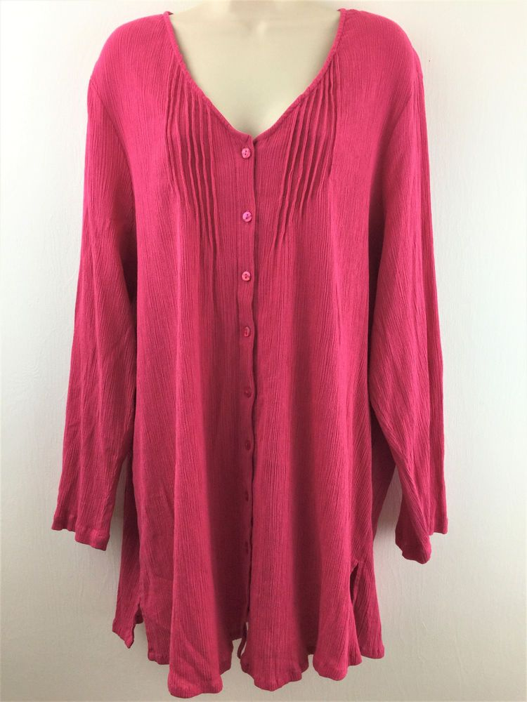 f1dd70b6cd2 Ulla Popken Womens Plus Size 2X Pink Long Roll Sleeve Button Front Tunic  Top  UllaPopken