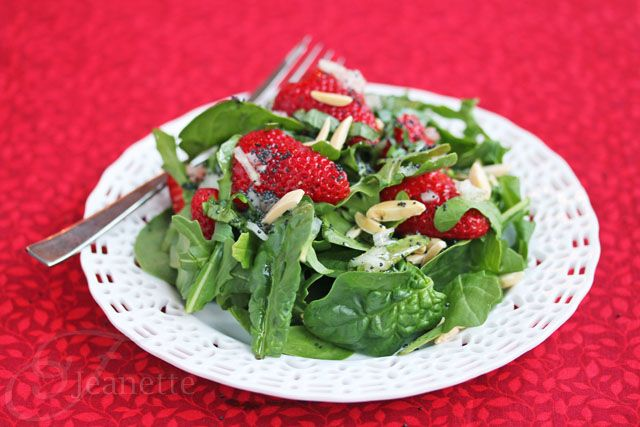 Strawberry Spinach Salad with Poppy Seed Dressing by @Jeanette   Jeanette's Healthy Living