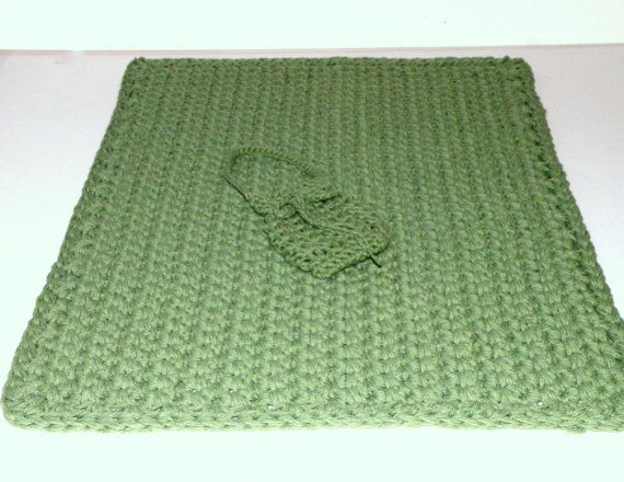 Sage Green Bath Mat and Soap Saver Sack Gift Set,  Crocheted Spa  Bathroom Rug Gift Set in Natural Fiber- Cotton Yarn #maineteam