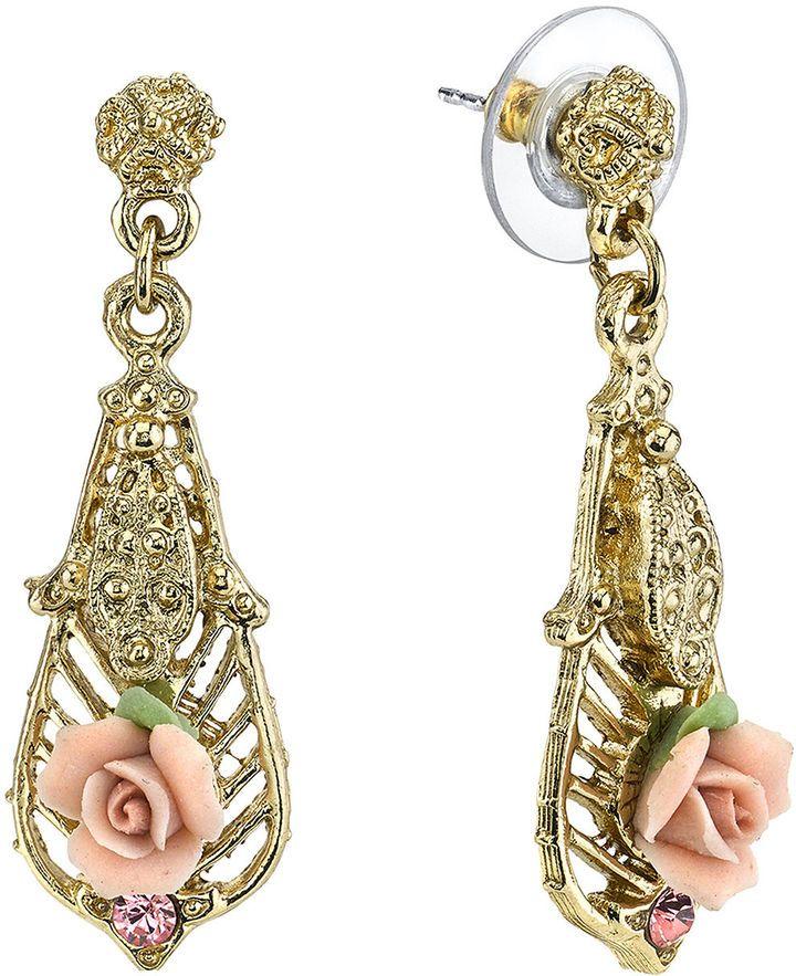 1928 Jewelry Pink Rose and Crystal GoldTone Drop Earrings afflink