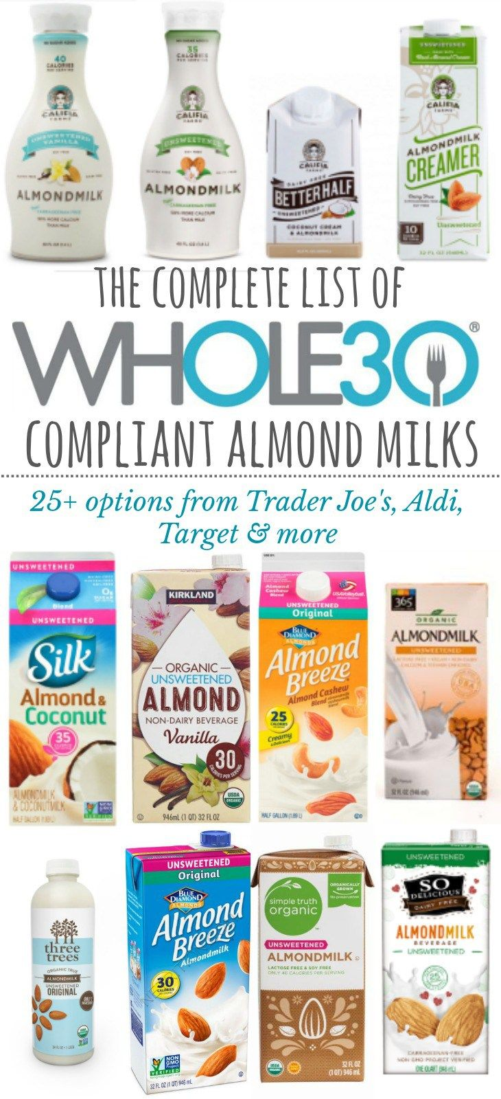 Whole30 Compliant Almond Milk Brands: The Complete List For 2018 - Whole Kitchen Sink -   17 diet Clean Eating almond milk ideas