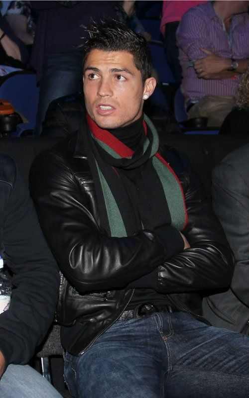 8835dba3e Cristiano Ronaldo - Gucci Signature scarf, leather jacket, twin ...