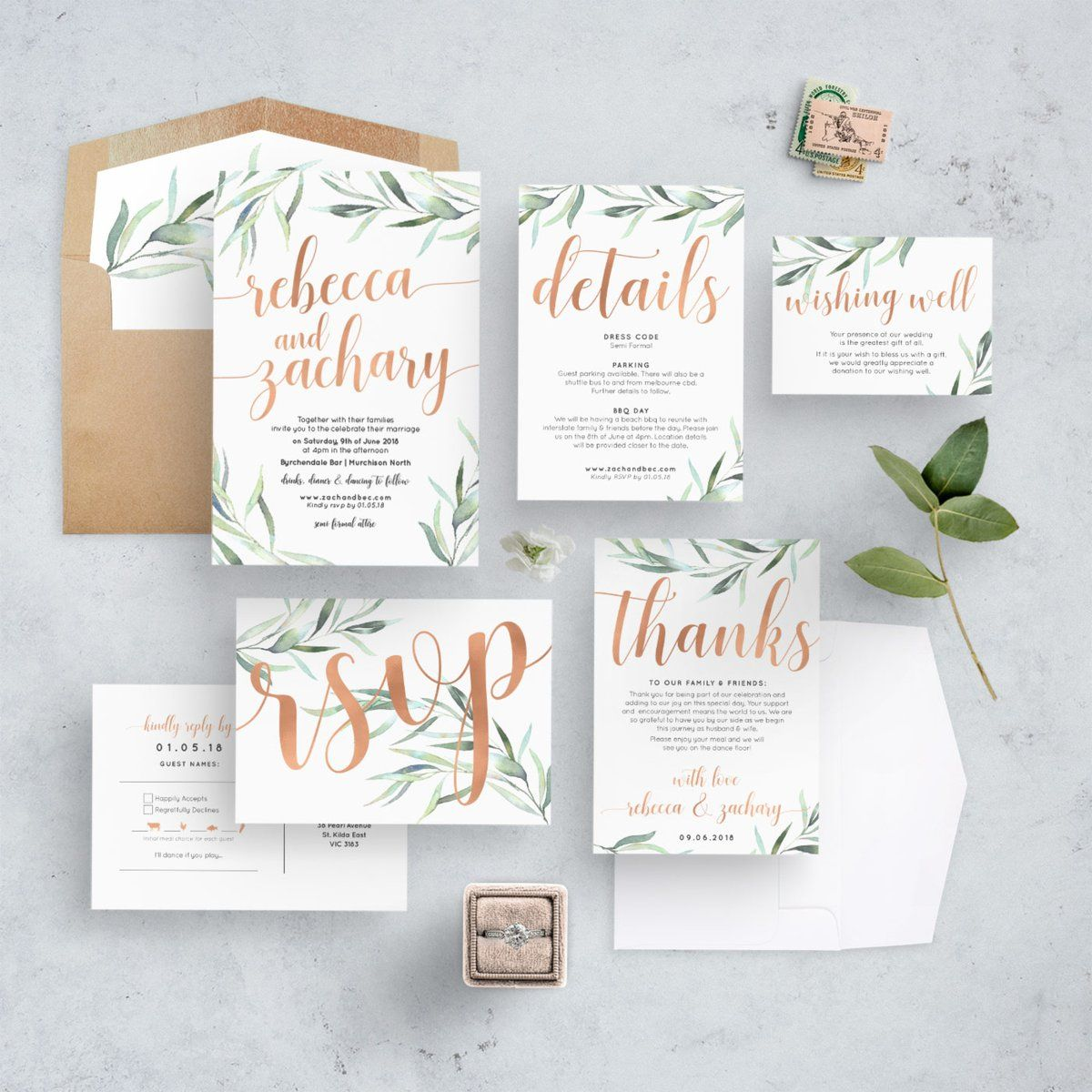Boho Rustic Eucalyptus Rose Gold Wedding Invitation Suite Rose Gold Wedding Invitations Eucalyptus Wedding Invitation Wedding Invitations Boho