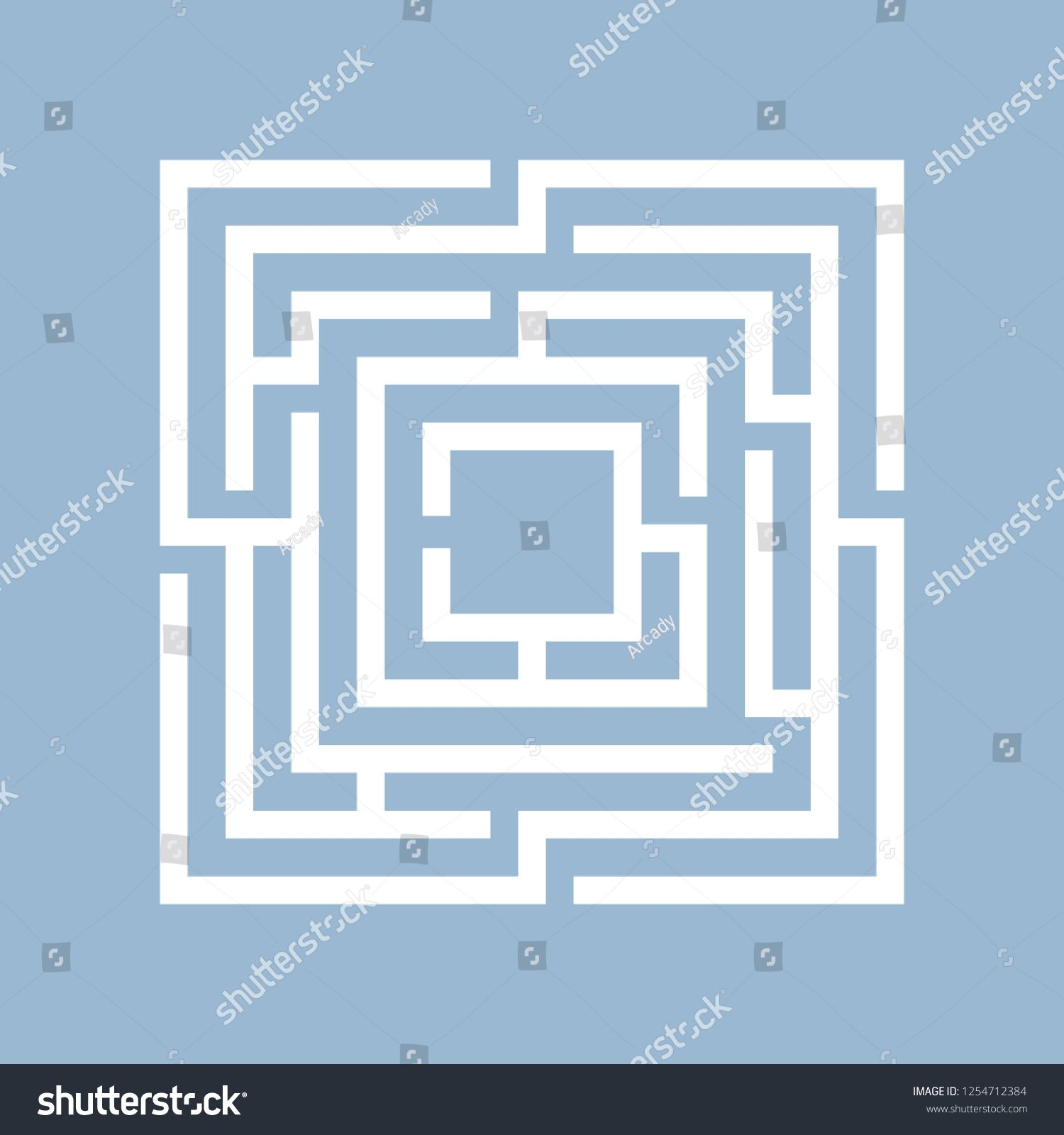 Square maze labyrinth vector illustration isolated on blue