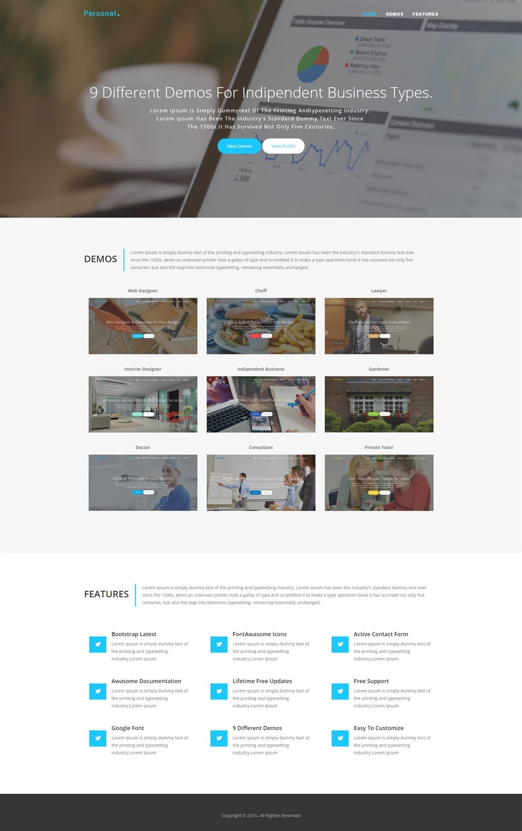 Personal Bootstrap One Page Template, Corporate Business