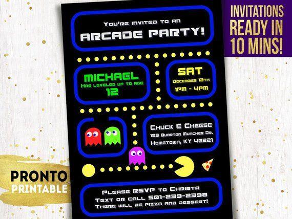 image relating to Free Printable Video Game Party Invitations identify Arcade bash invitation, Arcade birthday invites, Arcade