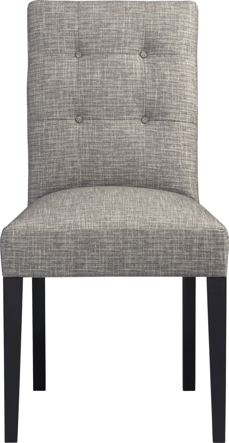 Square Contemporary Chair Buttons Down Modern Style In Sketchy Graphite Weave Tufted Back And Padded ChairsLeather Dining Room