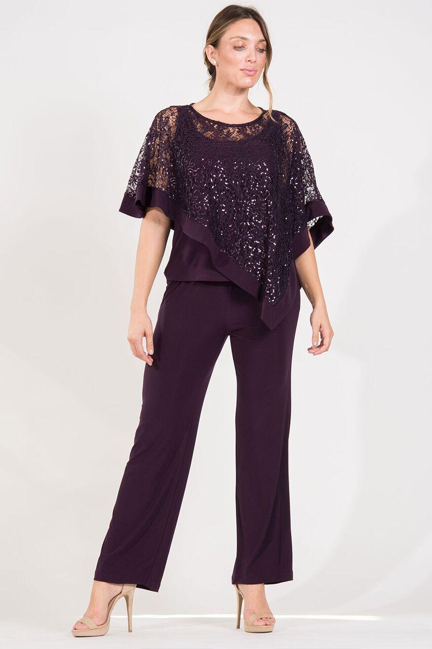 R/&M Richards Womens Plus Size Sheer Panel Pant Set