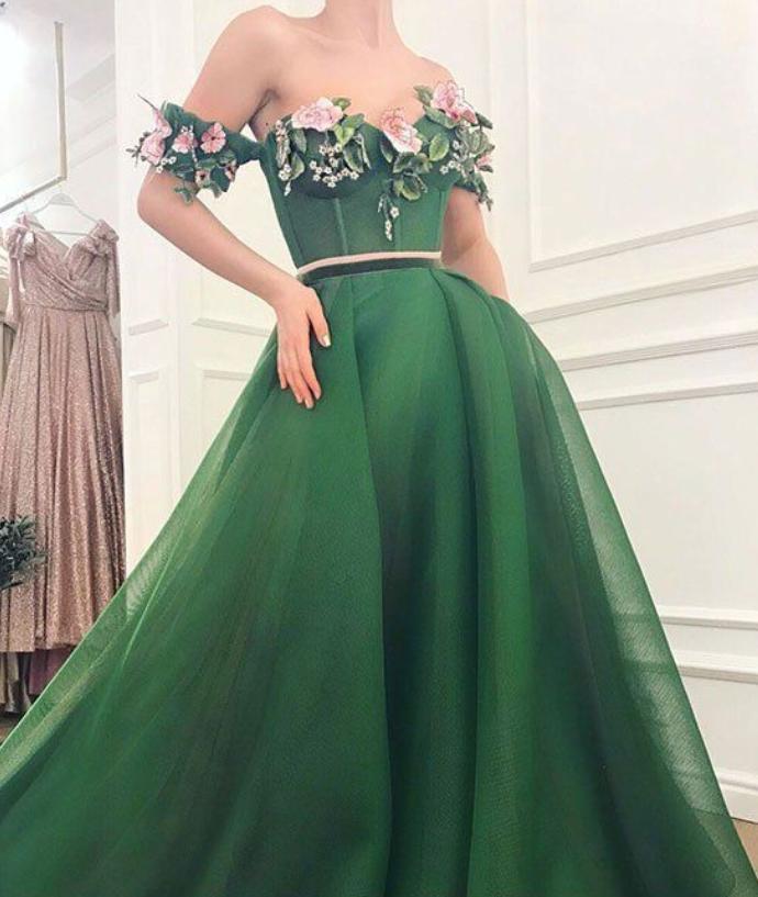 Green sweetheart off shoulder long prom dress GREE