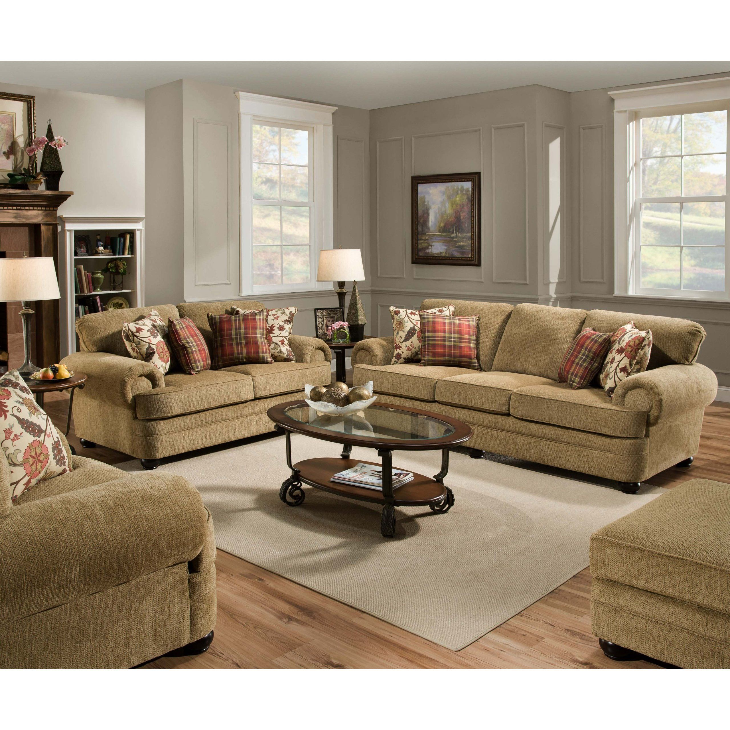 What Time Does American Freight Furniture Open: FurnitureMaxx Thunder Topaz Tan Sofa W/ 4 Pillows : Sofas