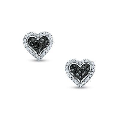 Zales 1/4 CT. T.w. Enhanced Black and White Diamond Heart Drop Earrings in Sterling Silver xVbUM4