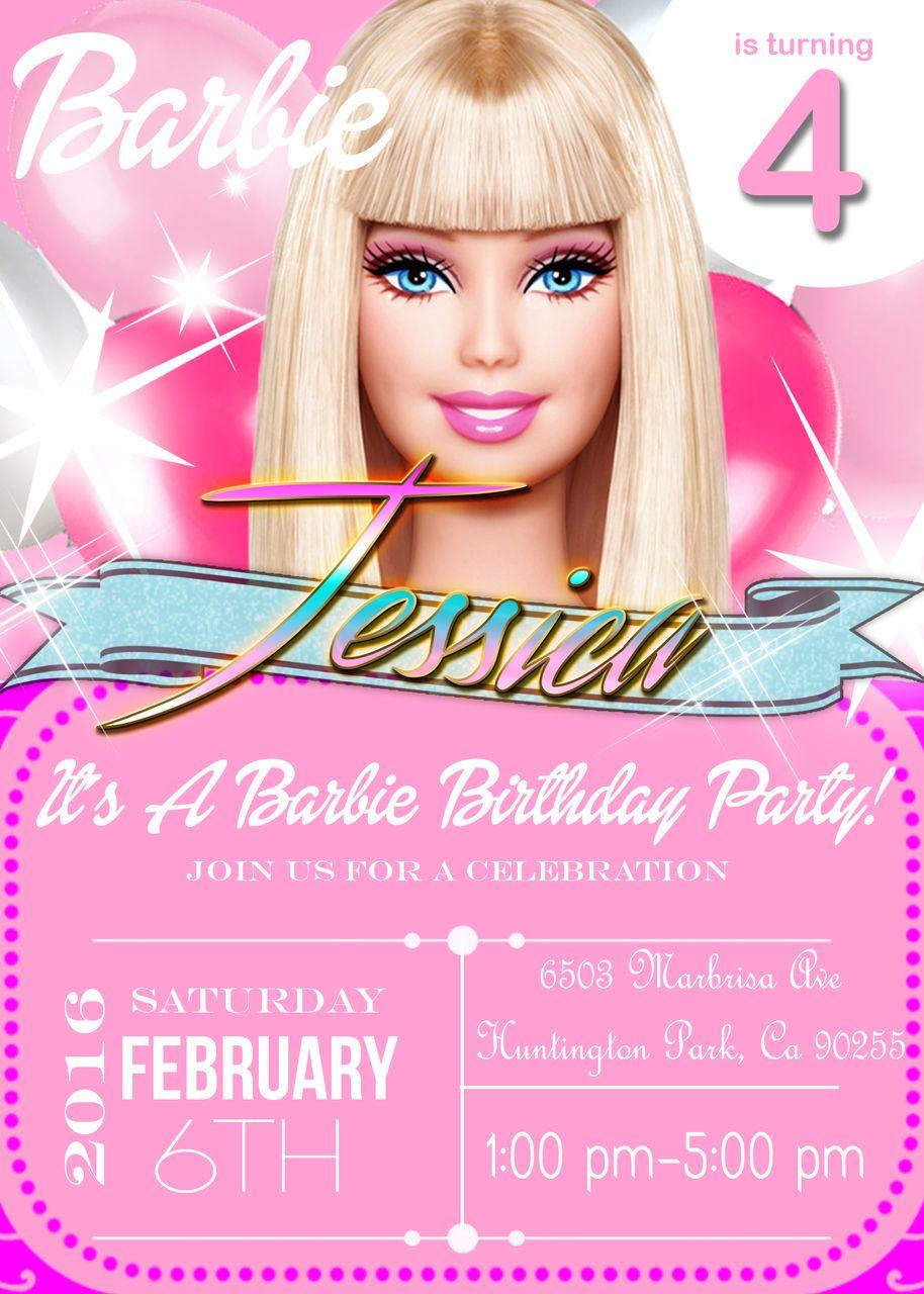 Barbie Birthday invitation | Barbie Party | Pinterest | Barbie ...