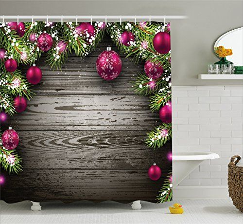 Christmas Shower Curtain Vintage Bathroom Decorations by Ambesonne