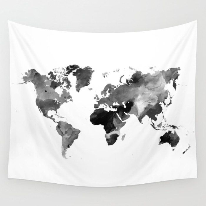 Wall tapestry wall hanging sofa throw design 42 world map black wall tapestry wall hanging sofa throw design 42 world map black white gray grayscale home decor gumiabroncs Images