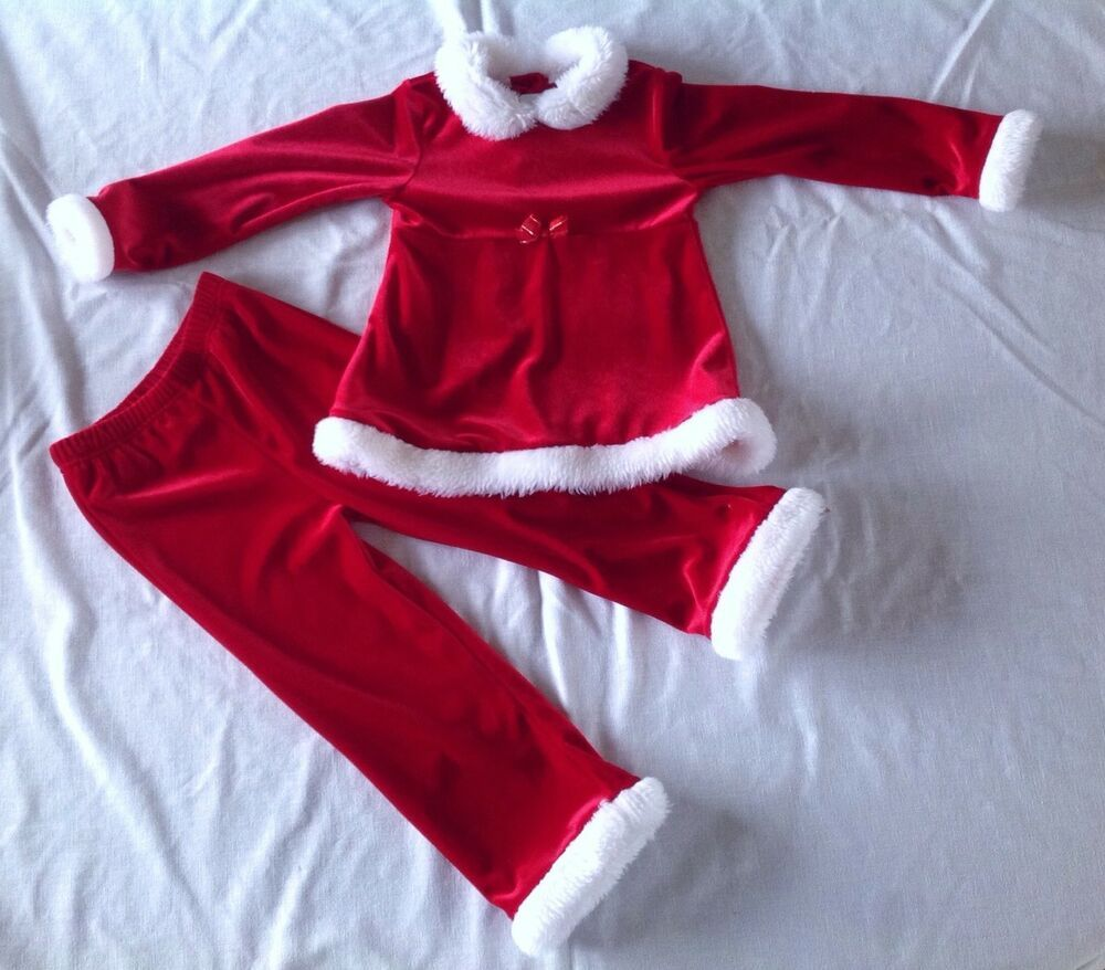 854e7b0b3dd09e Girls Youngland Christmas Outfit Set Sz 4T Santa Red Shirt Pants White Fur  Trim