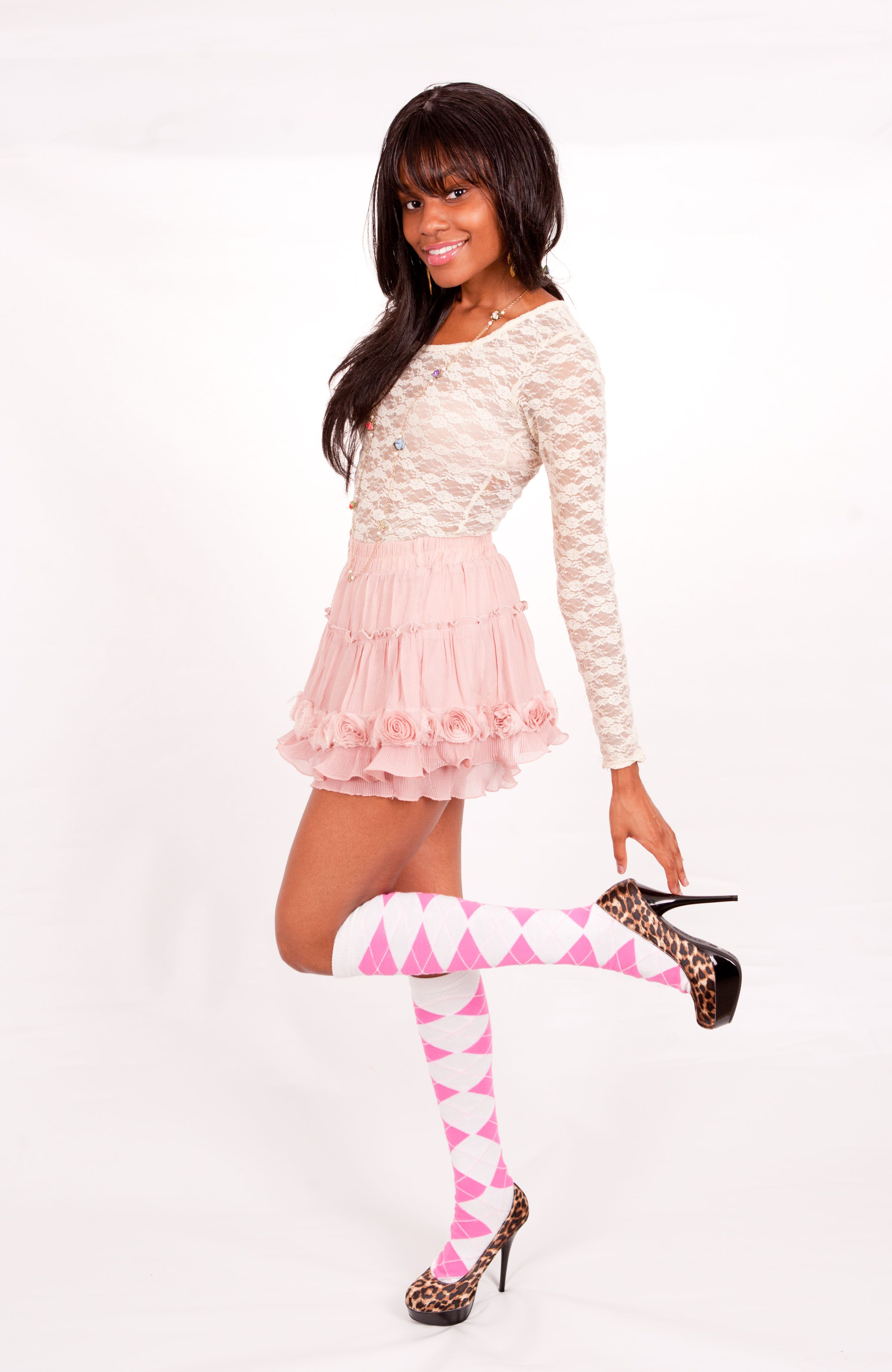 49d941338 Neon Pink Argyle Knee High Socks
