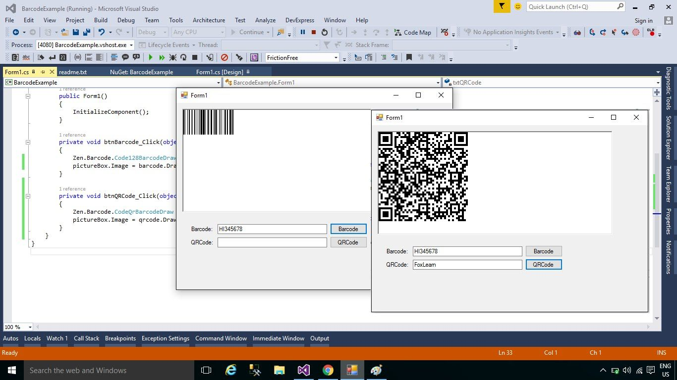 C Tutorial Generate Barcode & QR Code with 2 Lines of