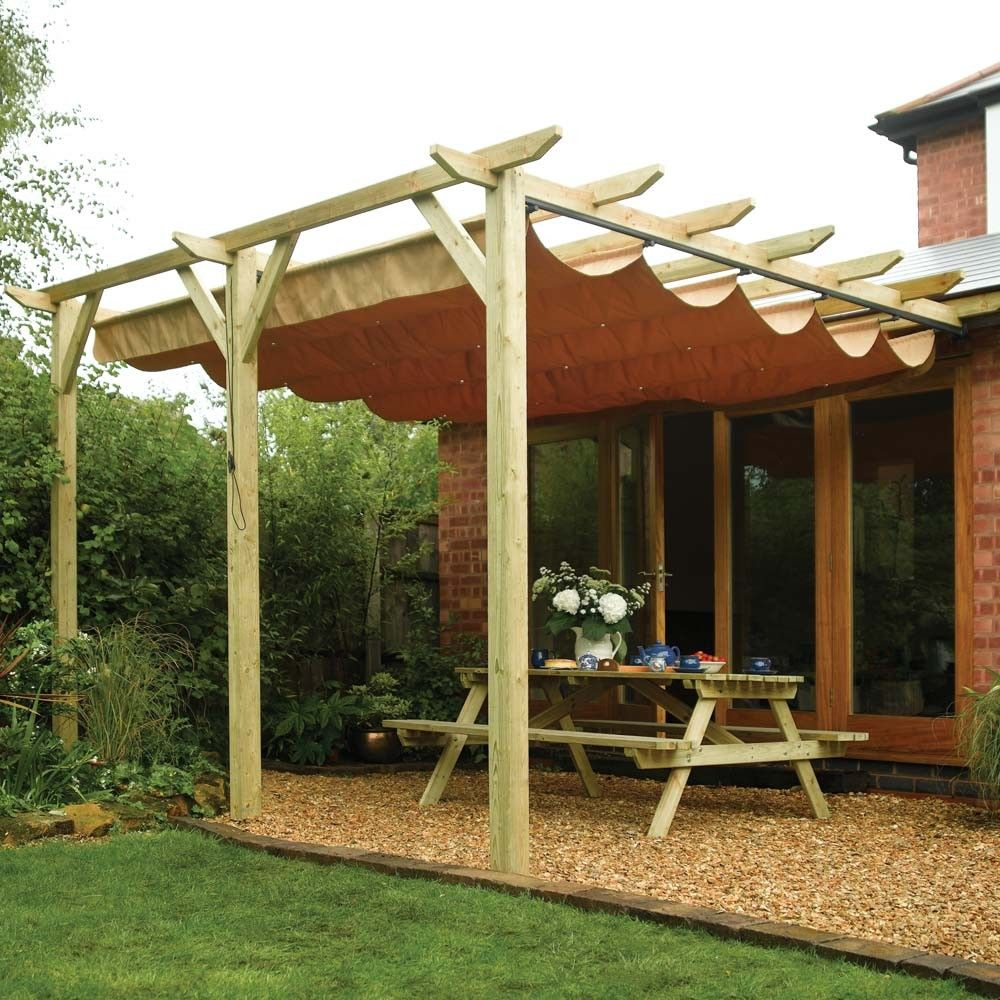 Retractable canopy for pergola - Rowlinson Sienna Wooden Lean To Canopy Pergola Canopy With Pergola