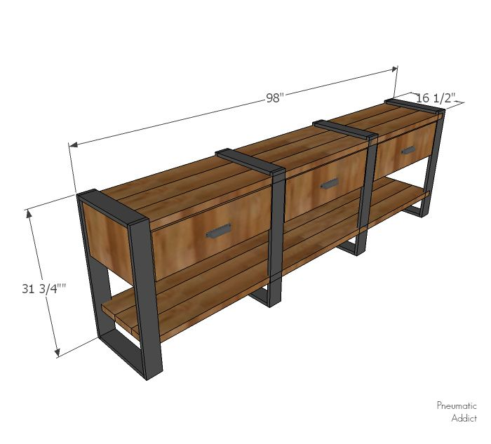 How to build an 8 foot long modern rustic console table or buffet