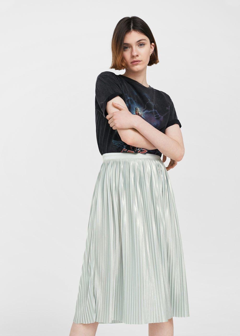 2fa1f7371 Metallic pleated skirt - Women   Looks   Metallic pleated skirt ...