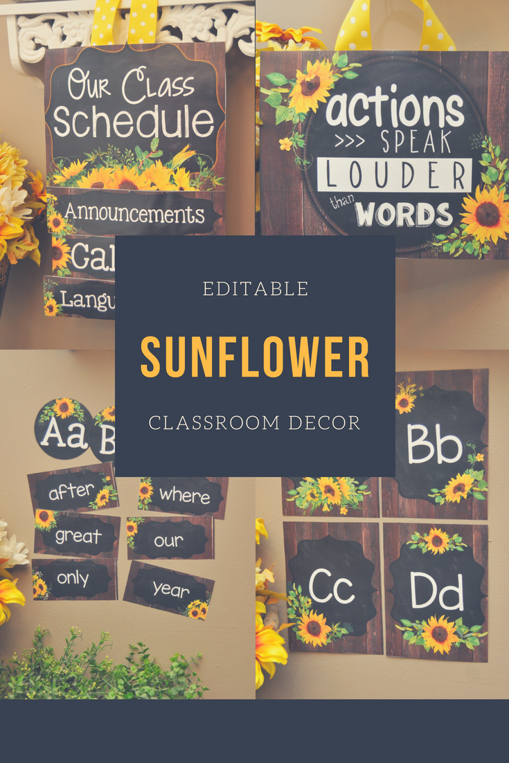 Deciding on a classroom decor theme for your elementary classroom?  These bright watercolor sunflowers will cheer you up! #sunflowerclassroomtheme #classroomdecor #elementaryclassroomideas #backtoschool #classroomdecor