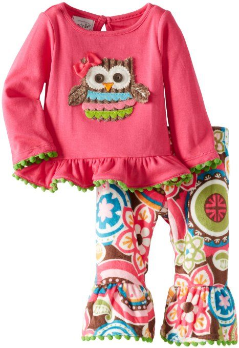 4a98297e8c8 Amazon.com  Mud Pie Baby-Girls Newborn Owl Minky Pant Set  Clothing ...