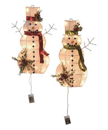 Love This Led Light Up Snowman Wall Decor Set Of Two On Zulily Zulilyfinds Led Wall Decor Wall Decor Set Led Lights