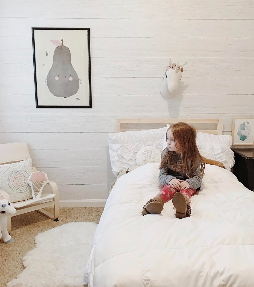Shiplap Peel And Stick Temporary Wallpaper In A Little Girls Room Unicorn Bust From Target Little Girl Rooms Temporary Wallpaper Room