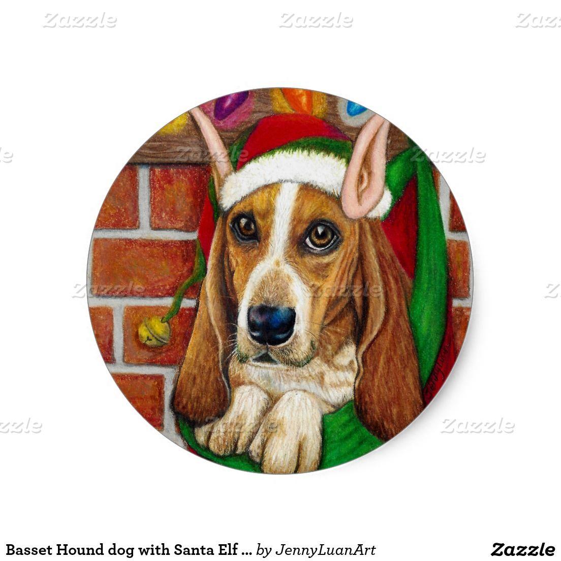 Basset Hound dog with Santa Elf Ear in Stocking Classic Round Sticker