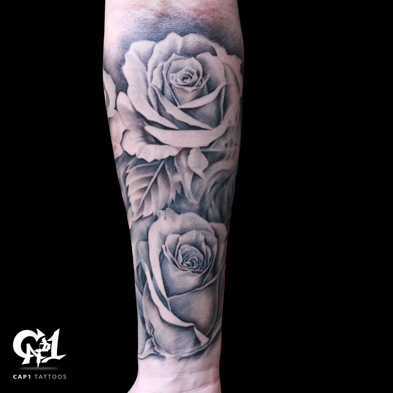 94c4fe486f967 A forearm of black and grey roses pt. 2 | Inner forearm tattoo |  @tattoosbycapone