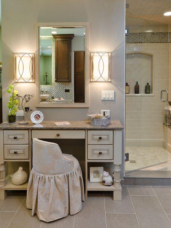 bathroom makeup chair denim covers beige upholstered the room pinterest