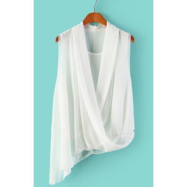 Trendy Style V-Neck Sleeveless Solid Color Irregular Hem Women's Blouse, WHITE, M in Blouses | DressLily.com